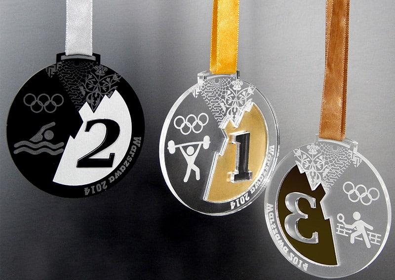 Przestrzenne medale sportowe w stylu soczi