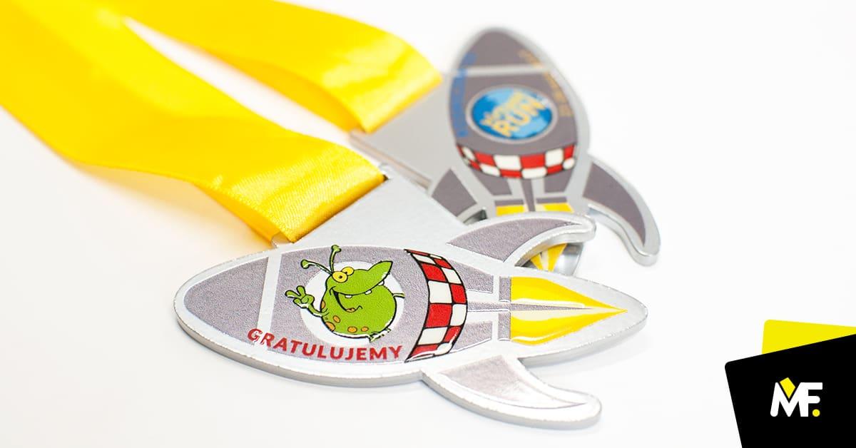 Medale biegowe wkształcie rakiety, zkolorowym nadrukiem