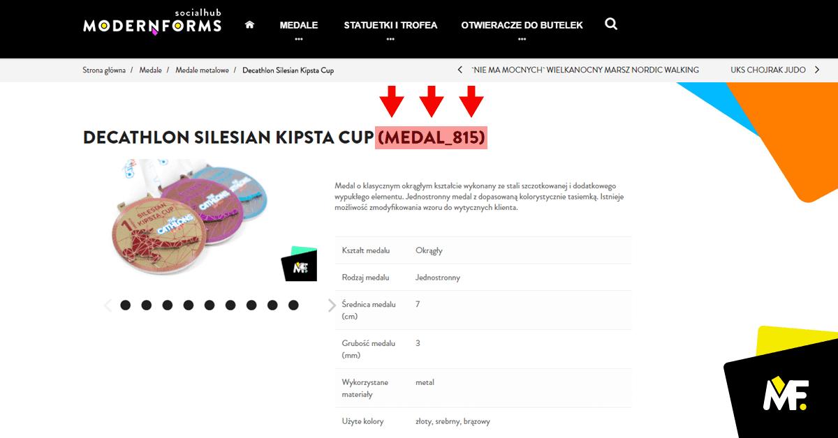 Opis medalu sportowego zrealizowanego przezModern Forms